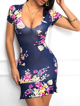 Low Cut Printed Back Criss Cross Summer Dresses