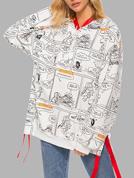 Comic Printed Ribbon Patchwork Pullover Hoodie