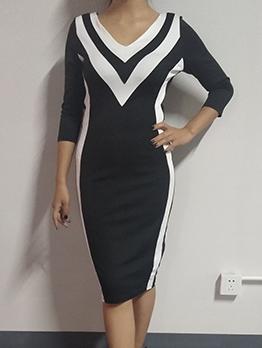 Stylish Contrast Color Long Sleeve Dress