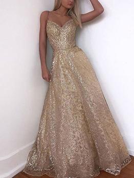 Backless Large Hem Champagne Evening Dress
