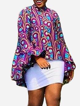 Stand Collar Printed Irregular Hem Long Sleeve Blouse