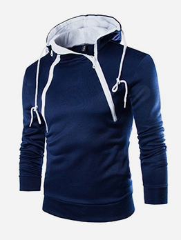 Double Zip Up Long Sleeve Men Hoodie
