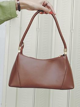 Minimalist Solid Color Pu Ladies Handbags On Sale