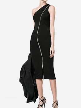 One Shoulder Zipper Up Black Sleeveless Dress
