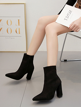 Suede Chunky Heel Black Ankle Boots