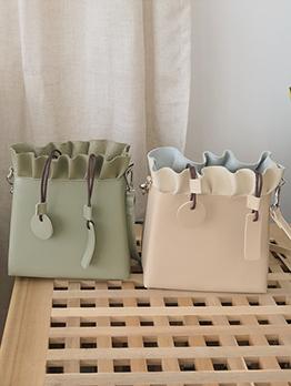 Solid Drawstring Design Ruffles Square Shoulder Bag