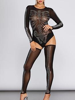 Rhinestone Decor Long Sleeve Bodysuit With Silk Stockings
