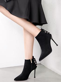 Bandage Rhinestone Black Womens Boots