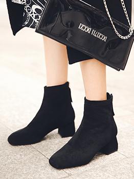 Square Toe Zipper Up Suede Black Boots