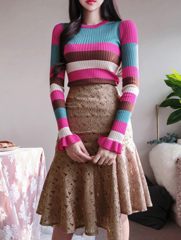Multicolored Striped Sweater With Solid Fishtail Half Skirt