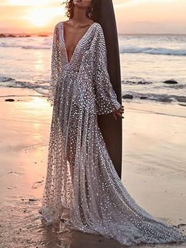 Deep V Neck Beading Decor Long Maxi Dress