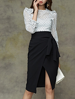 Polka Dot Ruffles T Shirt With High Waist Tie-Wrap Skirt