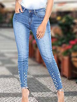 Studded Decor Natural Waist Women Skinny Jeans