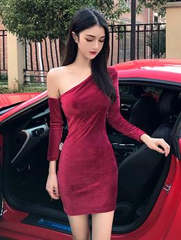 One Shoulder Fitted Long Sleeve Velvet Dress