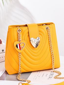 Heart Shape Metal Splicing Chain Shoulder Bags