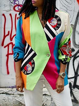 Color Block Embroidery Long Sleeve Ladies Blazer