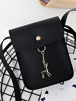 Solid Color Deer Pendant Crossbody Phone Bag