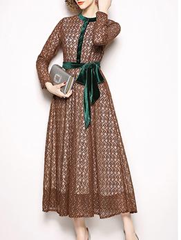Button Up Velvet Belt Long Sleeve Lace Dress