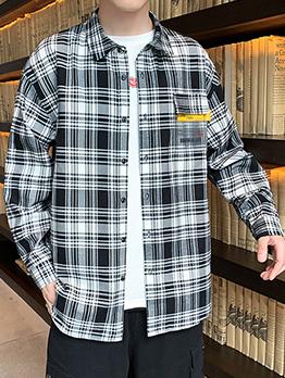 Chic Contrast Color Plaid Shirts For Men