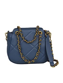 Diamond Pattern Thread Golden Chain Shoulder Bag