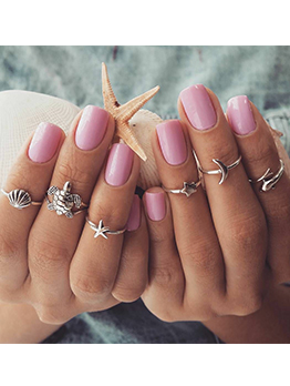Beach Shell Starfish Turtle Dolphin Moon Rings Sets