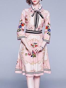 Tie Neck Exquisite Print Long Sleeve A-Line Dress