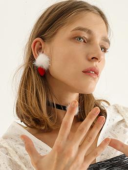 Cute Plush Heart Drop Earrings