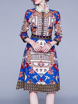 Vintage Style Printed A-Line Shirt Dress