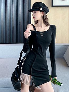Off Shoulder Tassel Decor Black Long Sleeve Dress
