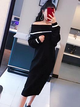 Boat Neck Black Long Sleeve Sweater Dress
