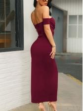 Off The Shoulder Solid Slit Sleeveless Maxi Dress