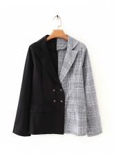 Contrast Color Double Breasted Plaid Blazer