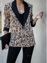 Leopard Printed Lapel Collar Ladies Blazer