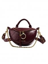 Double Ring Zipper Crossbody Shoulder Bag With Handle