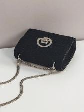 Metal Hasp Small Black Chain Crossbody Shoulder Bag