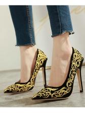 Embroidery Slip On Stiletto Heels