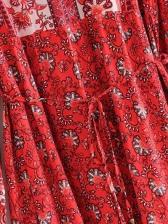 National Print Long Sleeve Boho Maxi Dress
