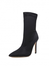 Pure Color Black Boots For Women