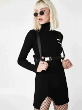 Turtle Neck Ribbing Knitted Sweater Dress