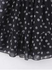 Retro Chiffon Ladies Long Sleeve Floral Dress
