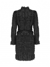 Stand Neck Puff Sleeve Boutique Ladies Dress