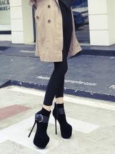 Buckle Strap Stiletto Platform Black Boots