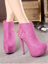 Rivet Zipper Up Thin High Platform Boots