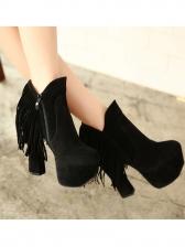 Tassel Platform Chunky Heel Ladies Boots