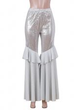 Sequin Glitter Ruffled Flare Pants