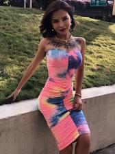 Hot Sale Tie Dye Strapless Midi Dress For Women