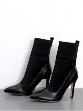 Patchwork Black Pointed Womens Ankle Boots