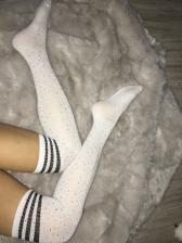 Rhinestone Decor Striped Thigh Length Stockings