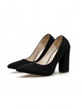 Black Slip On Chunky Heels