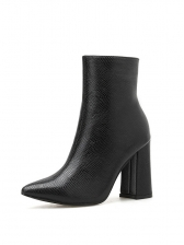 PU Pointed Chunky Heel Black Boots